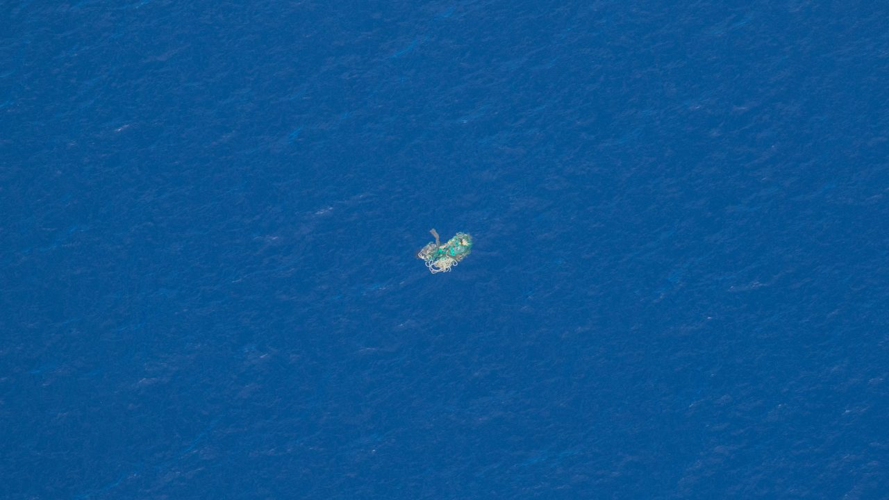 Aerial view of a ghost net in the Great Pacific Garbage Patch