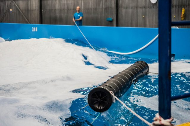 A 3-meter scale model tested in a wavepool at Falck Safety Services, 2018.